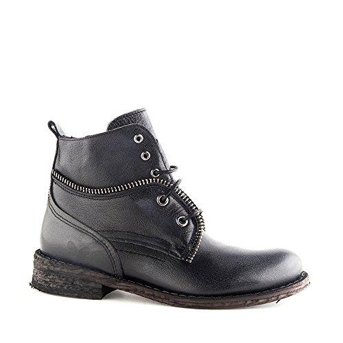 Felmini - Zapatos para Mujer - Enamorarse com Gredo 9223 - Botas com Cordones - Cuero Genuino - Negro - 0 EU Size Negro