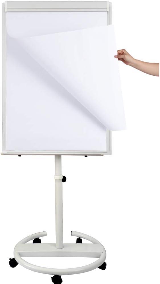 101,6 x 71,1 cm Magneten und Radiergummi 40 x 28 wei/ß mit h/öhenverstellbarem Roll-St/änder mit Flipchart-Pad trocken abwischbar Tragbares magnetisches Whiteboard