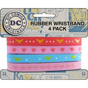 DC+Comics Products : WONDER WOMAN 4 Mini, Officially Licensed DC Comics Originals Stylish Design, Rubber WRISTBAND
