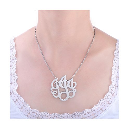HUAN XUN Stainless Steel Initial Monogram Necklace , 16+2