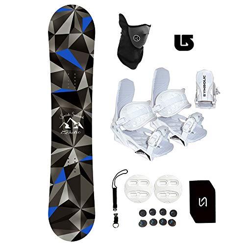 Symbolic Arctic Kids Snowboard & White Bindings Package +Leash+Stomp+Face Mask + Burton Decal