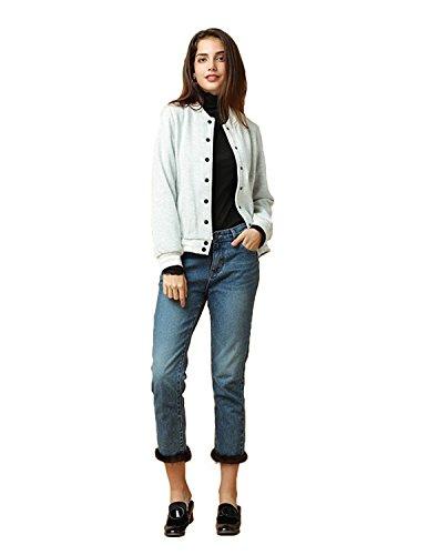 ASMAX HaoDuoYi Womens Varsity Ribbed Color Block Long Sleeve Baseball Bomber Jacket Grey -