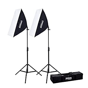 "Fovitec - 2x 20""x28"" EZ Setup Softbox Studio Video Photography Lights w/ 850 Watt Equivalent Total Output - [Automatic Pop-Up][Continuous][85 W Bulbs]"