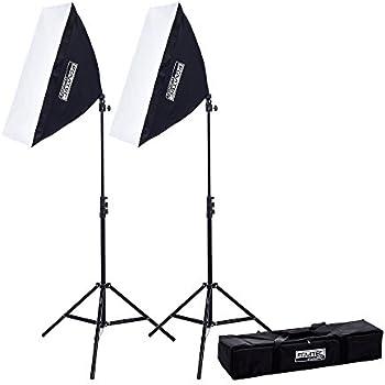 "Fovitec - 2x 20""x28"" EZ Setup Softbox Studio Video Photography Lights w/ 850 Watt Equivalent Total Output - [Automatic Pop-Up][Continuous][85 W Bulbs]"