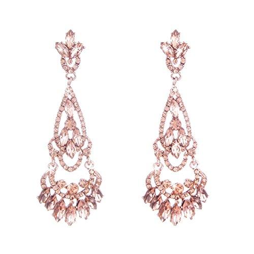NLCAC Tear Drop Earrings Chandelier Crystal Wedding Dangle Ear Drop Rose Gold