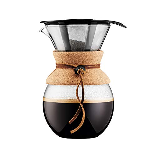 Bodum Pour Over Coffee Maker with Permanent Filter, Glass, 34 Ounce, 1 Liter, Cork Band