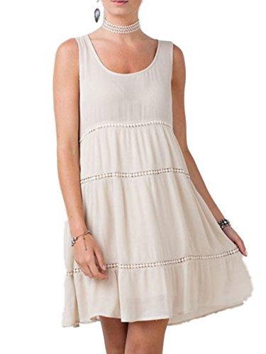 (Easel Womens Sleeveless Three-Tier Boho Dress (Medium, Natural))