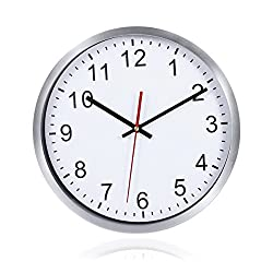 WINOMO Round Wall Clock 12 Inch Silent Quartz Decorative Clock with Hook for Home Office School