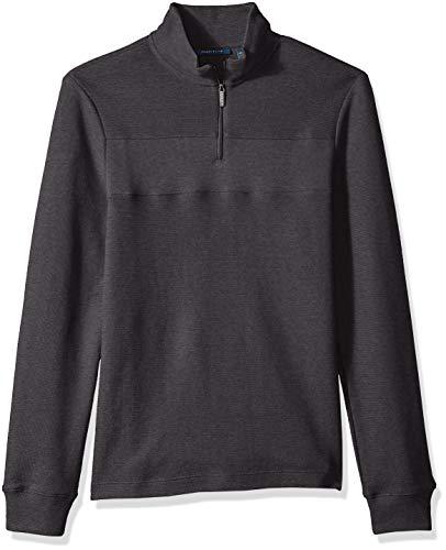 - Perry Ellis Men's Quarter Zip Jacquard Sweater, Charcoal Heather/DHK Large