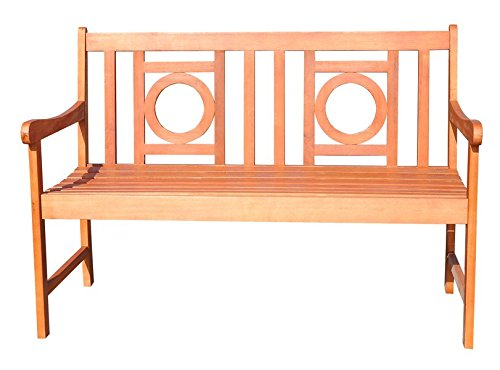 Wood Garden Bench Crafteed of Solid Eucalyptus Wood with a Natural Finish it Features a Clean-lined Silhouette with a Slatted Seat and an Openwork Geometric Back - 48' Cocktail Table Set
