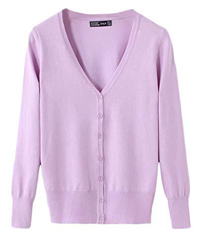 Knit Neck BoBo Primaverile Eleganti Fashion Maglia Casual Lunghe Colore Unique Donna Button Lily Maniche Giacca Maglia A Stlie Cappotto Puro Giubbino V Base A Autunno 1P1SH