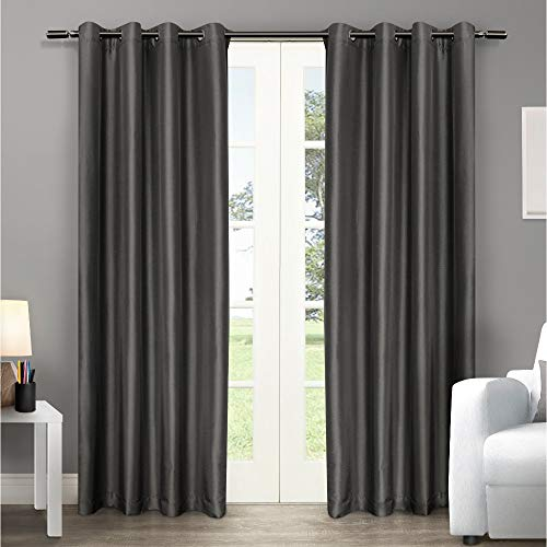 Exclusive Home Curtains Chatra Faux Silk Window Curtain Panel Pair with Grommet Top, 54x96, Black Pearl, 2 Piece (Pergola Designs Luxury)