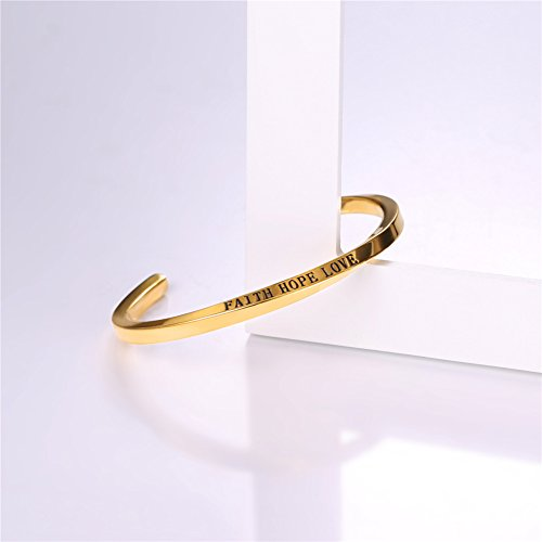 U7 FAITH HOPE LOVE Engraved Bangle Inspirtional Jewelry 18K Gold Plated Plated Twisted Cuff Bracelet by U7 (Image #2)