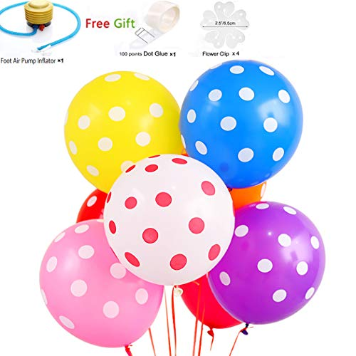 12 Inches Colorful Latex Polka Dot Balloons 100pcs Assorted Candy Colored Party Balloons for Wedding Graduation Birthday Christmas Baby Shower Party Decoration - Multicolor