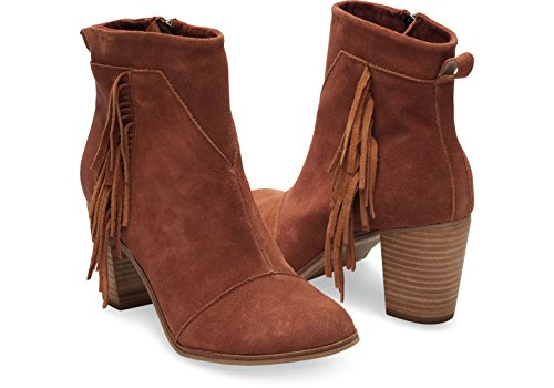 TOMS Womens Lunata Boot Cognac Suede/With Fringe hZDBu