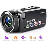 """Camcorder Digital Camera Full HD 1080p 18X Digital Zoom Night Vision Pause Function with 3.0"""" LCD and 270 Degree Rotation Screen with Remote Controller"""