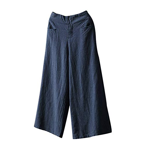 Linen Palazzo Pants for Women Casual High Waist Wide Leg Culottes Trousers Loose Pants Size S-5XL Navy