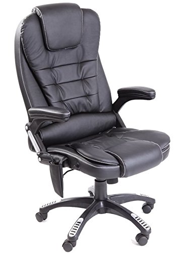 Leather high back reclining office / desk chair with massage and heat (Black)