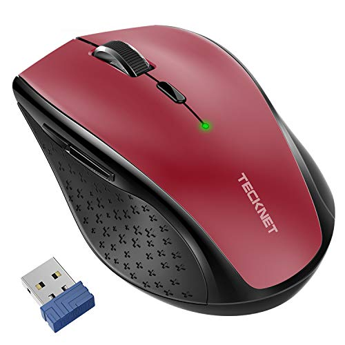 - TeckNet Classic 2.4G Portable Optical Wireless Mouse with USB Nano Receiver for Notebook,PC,Laptop,Computer,6 Buttons,30 Months Battery Life,4800 DPI,6 Adjustment Levels