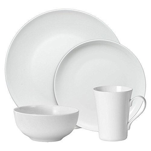 Mikasa Lucerne White Coupe 16 Piece Dinnerware Set, Service for - White Coupe