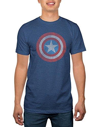 Captain America Men's Shield Burnout Tee M, (Navy Burnout Heather) -