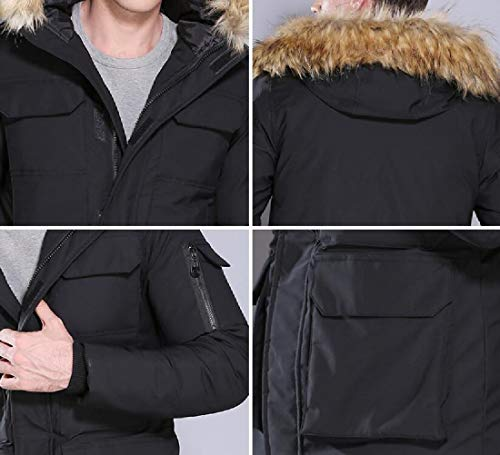 Warm Winter Puffer Cotton Coat Fur Quilted Jacket Padded Thick EKU Hooded Mens Down Black axU1cw