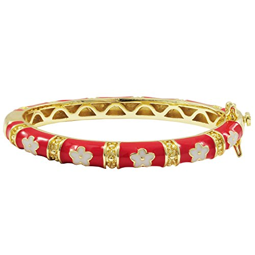Ivy and Max Gold Finish Red Enamel White Flowers Girls Bangle Bracelet (42mm) ()