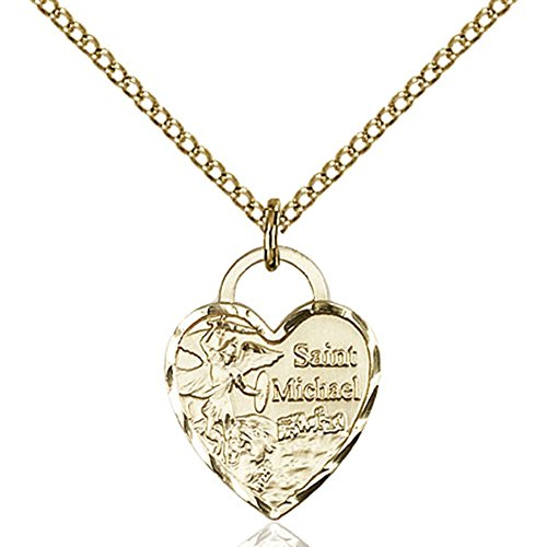 Gold Filled St. Michael Heart Pendant 5/8 x 1/2 inches with 18 inch Gold Filled Curb Chain by Bonyak Jewelry Saint Medal Collection