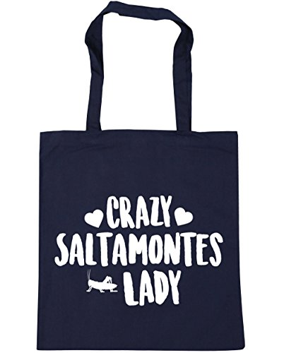 Hippowarehouse Grasshoppers Crazy Lady Beach Bag With Handles Shopping Bag 42cm X 38cm For Fitness 10 Liters Capacity Navy Blue