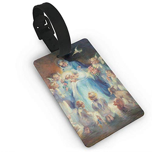 HBbaodingbdf Homlife Beautiful Angel Oil Painting PVC Travel Luggage Tag with Strap for Baggage Bag/Suitcases - Business Card Holder Name ID Labels Set for Travel -