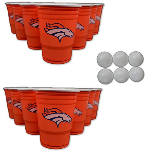 Siskiyou/Sport Mania NFL Fan Shop Beer Pong Set. Rep Your Favorite Team with The Classic Game of Beer Pong at Home or at The Tailgate Party - Comes with 22 Cups and 6 Ping Pong Balls (Denver Broncos)