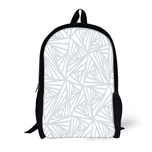 Pinbeam Backpack Travel Daypack Gray Abstract Line Geometric Light White and Grey Waterproof School Bag