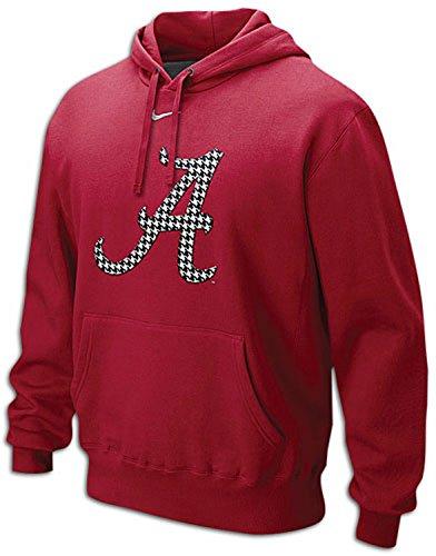 Nike Alabama Crimson Tide Men's Classic Houndstooth Logo Fleece Pullover Hoodie (Small, Varsity Crimson Red) (Classic Logo Nike Fleece Hooded)