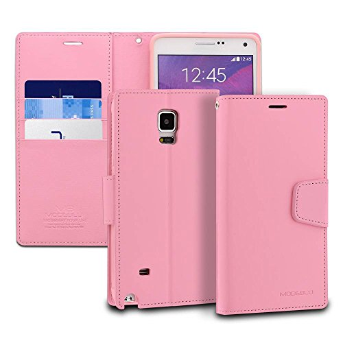 ModeBlu [Classic Diary Series] [Pink] Wallet Case ID Credit Card Cash Slots Premium Synthetic Leather [Stand View] for Samsung Galaxy Note 4 ()