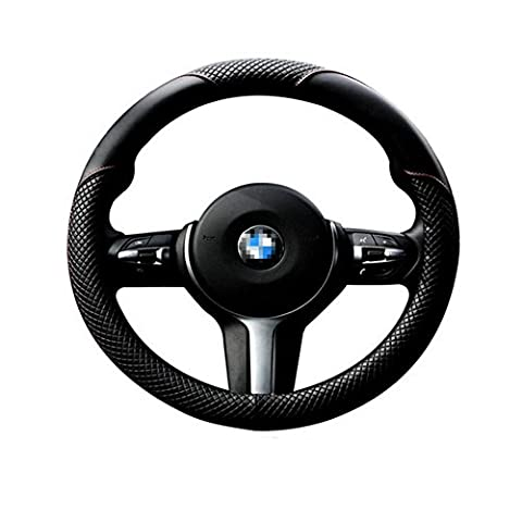 Classic Steering Wheel Cover-Black And Red, Odorless, 1.5lb, Microfiber Leather Fits 15