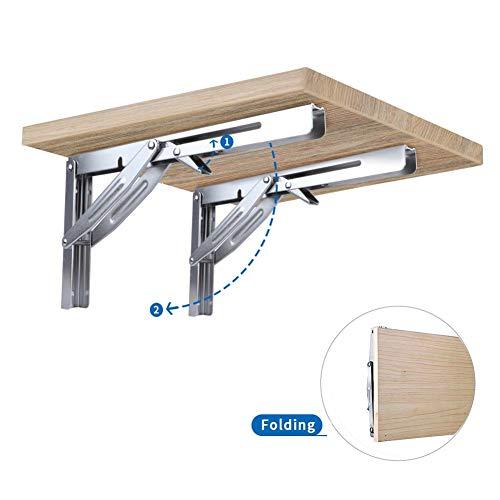 Folding Heavy Duty Shelf-Bracket Bench Table Folding Shelf or Bracket, Max. Load 550lbs ( short release handle), (Sold In Pairs)