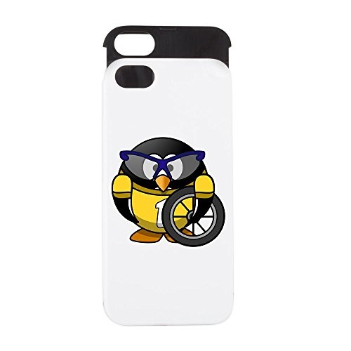 iPhone 5 or 5S Wallet Case White and Black Little Round Penguin - Cyclist in Yellow Jersey