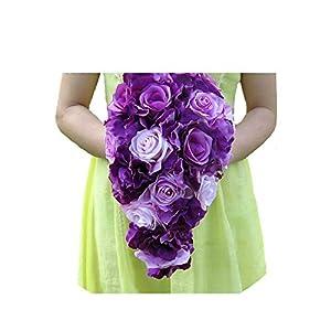 Brief Decoration Cascading Bouquet Bride Teardrop Bouquets Beige Purple Artificial Rose Alternative Wedding Flower FE75 29