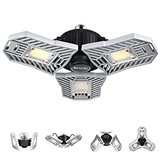 Led Garage Lights, 60W Garage Light, 6000LM Daylight LED Light Bulbs, Deformable lamp, Shop Lights for Garage, Ultra-Bright Mining Lamps with 3 Adjustable Leaf, Garage Ceiling Light