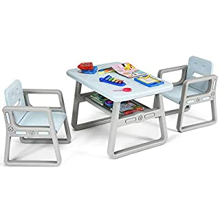 Costzon Kids Table and 2 Chair Set, Children Table Furniture with Storage Rack for Toddlers Reading, Learning, Dining, Playroom, Desk Chair for 1 to 3 Years, Activity Table Desk Sets (Blue)