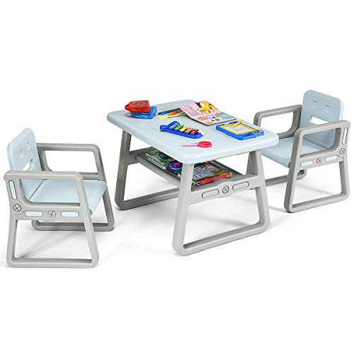 Costzon Kids Table and 2 Chair Set, Children Table Furniture with Storage Rack for Toddlers Reading, Learning, Dining, Playroom, Desk Chair for 1 to 3 Years, Activity Table Desk Sets (Blue) (Pinterest Decor Table Dining)