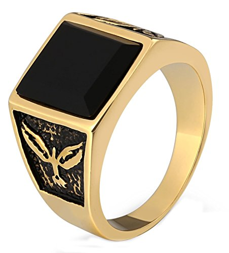 - Gnzoe Jewelry- Men's 316L Surgical Steel Ring for Boy Father Square Black CZ Stone Eagle Pattern 15MM Gold Size 11