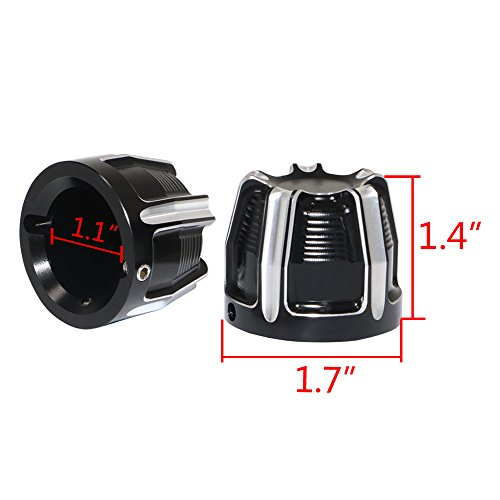 Senkauto Black Deep Cut Front Axle Cap Nut Cover For Harley Sportster Touring Dyna Touring Softail by Senkauto (Image #1)