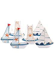 Wooden Sailing Boat Model Mini, Dedoot Handmade Vintage Nautical Wood Sailing Boat Decoration for Table Ornament, Photo Props, Beach Ocean Theme Party and Room Decor, Pack of 6