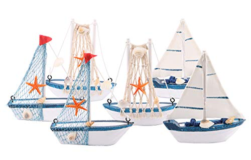Wooden Sailing Boat Model Mini, Dedoot Handmade Vintage Nautical Wood Sailing Boat Decoration for Table Ornament, Photo Props, Beach Ocean Theme Party and Room Decor, Pack of 6 -