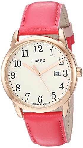 - Timex Women's TW2R62500 Easy Reader 38mm Pink/Rose Gold-Tone Leather Strap Watch