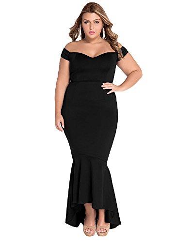 386c412553af Lalagen Women s Plus Size Off Shoulder Bodycon Mermaid Evening Party Midi  Dress