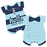 Baby : Big Dot of Happiness Hello Little One - Blue and Navy - Shaped Fill-In Invitations - Boy Baby Shower Invitation Cards with Envelopes - Set of 12