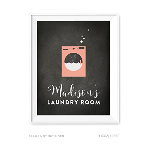 Andaz Press Laundry Room Wall Art Decor, Personalized Chalkboard Print, Madison's Laundry Room, 1-Pack, Mother's Day Birthday Christmas Gift Ideas for Mom Poster Signs Unframed, Custom Name (Personalized Laundry)
