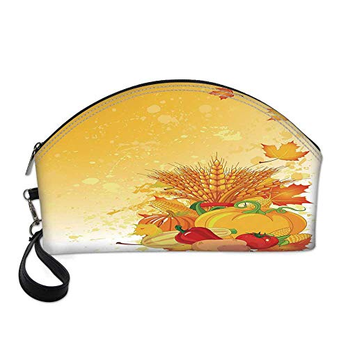 - Harvest Small Portable Cosmetic Bag,Vivid Festive Collection of Vegetables Plump Pumpkins Wheat Fall Leaves Decorative For Women,One size
